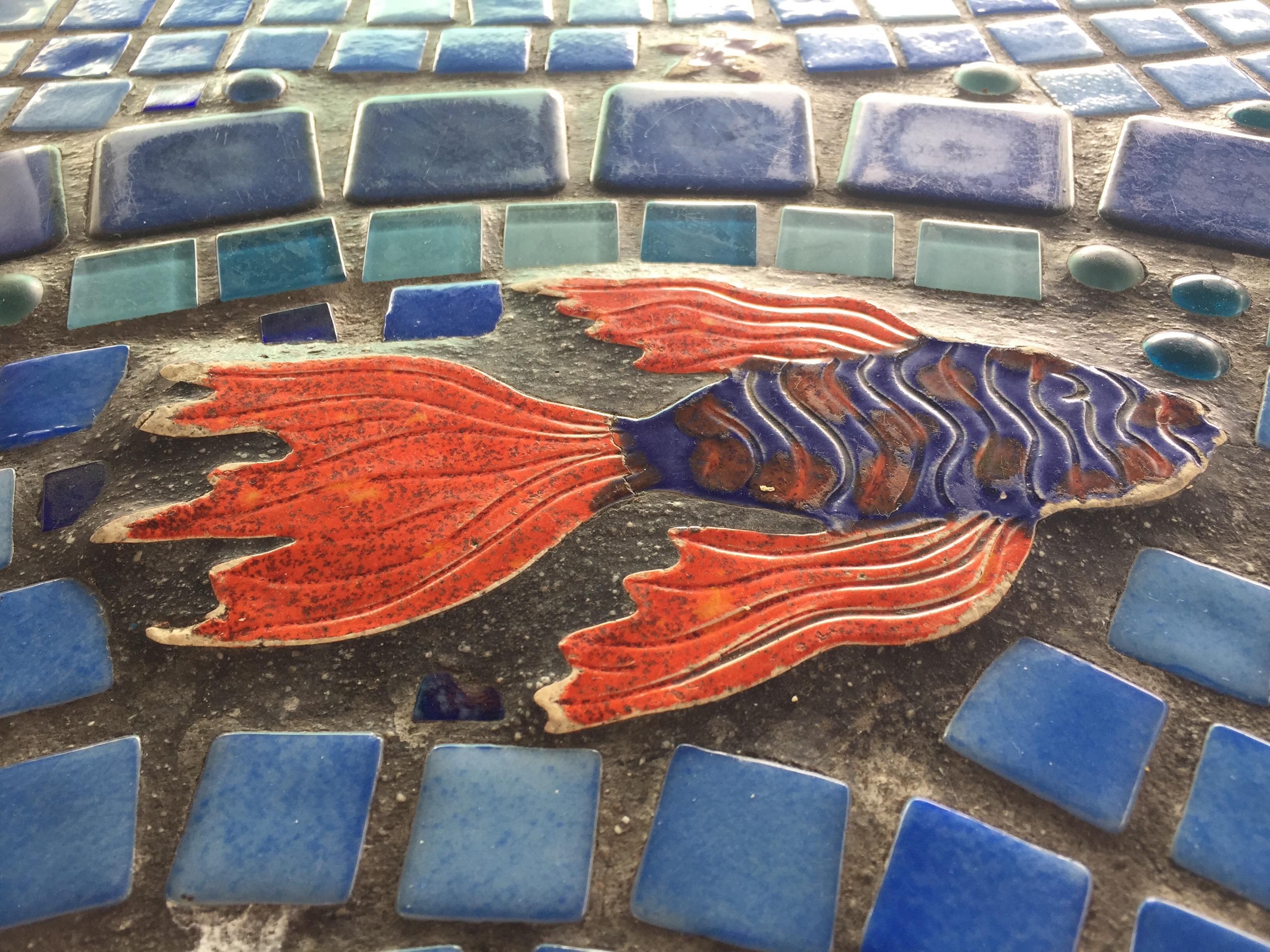 Cool mosaic bar at Off the Wall