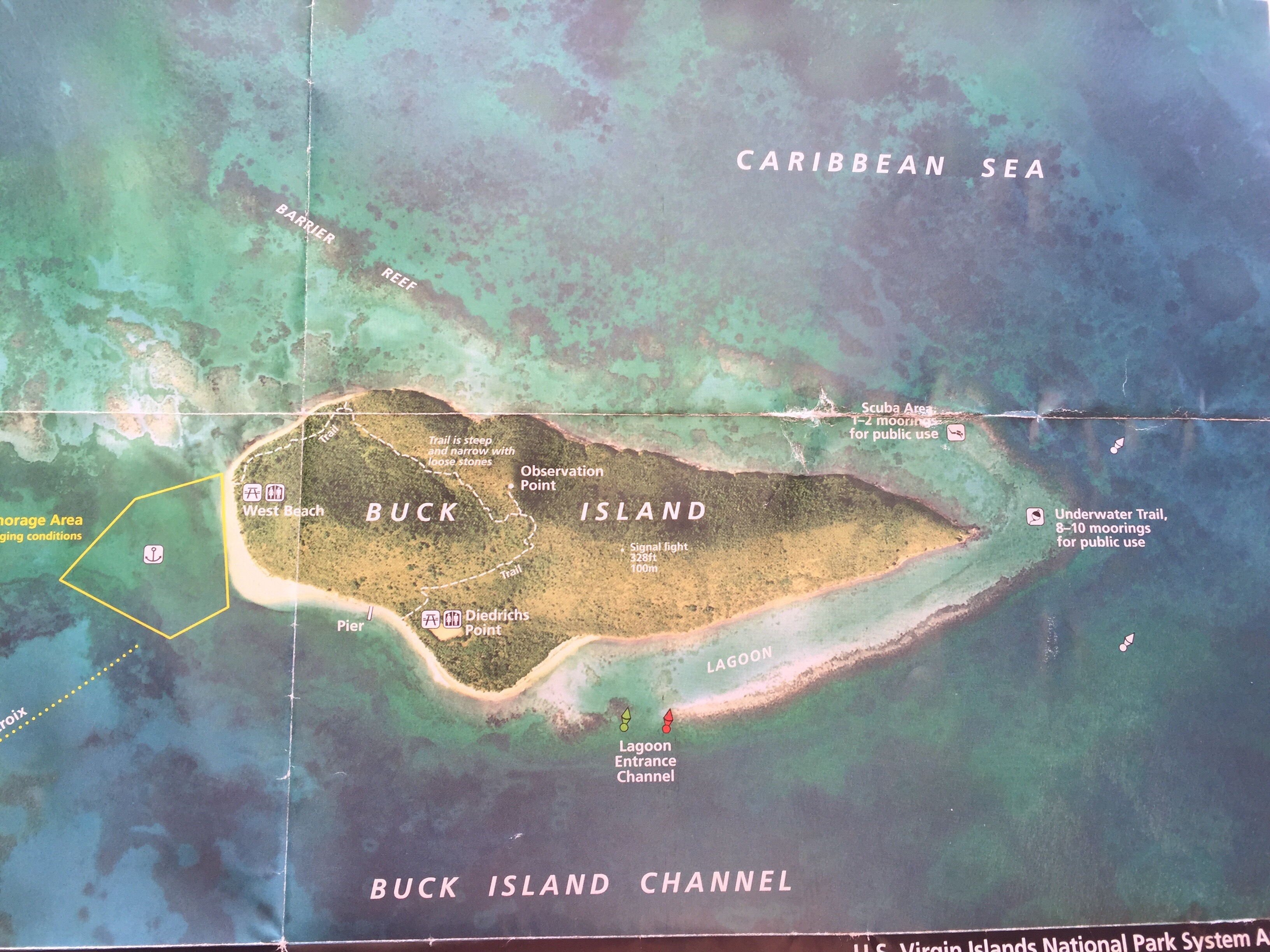 Buck Island. The yellow areas is the designated anchor area.