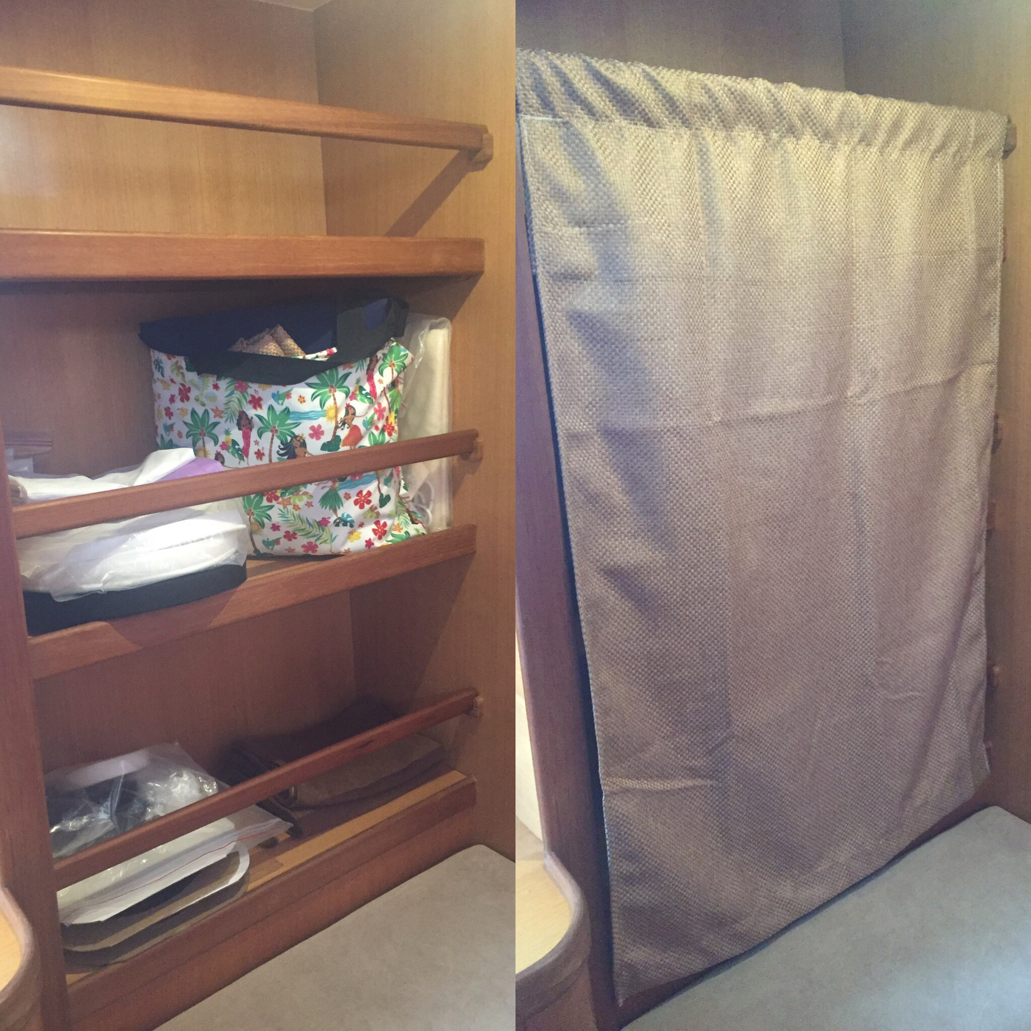 Before & after: Curtain for office shelves with sewing junk.
