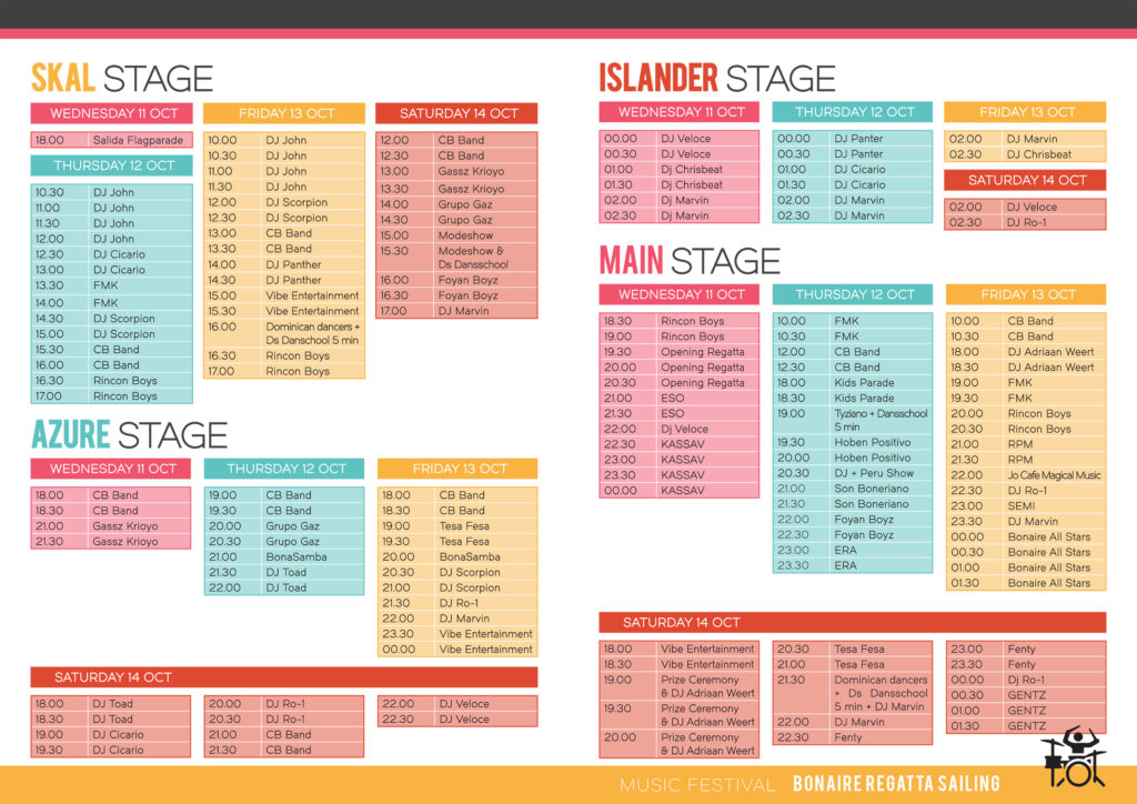 Music Schedule for Bonaire Regatta