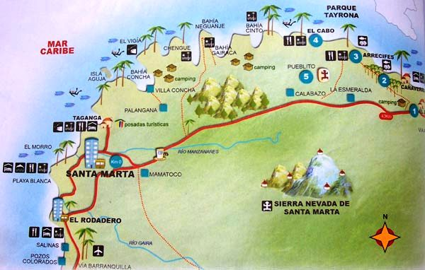 Columbia Map showing Tayrona Park