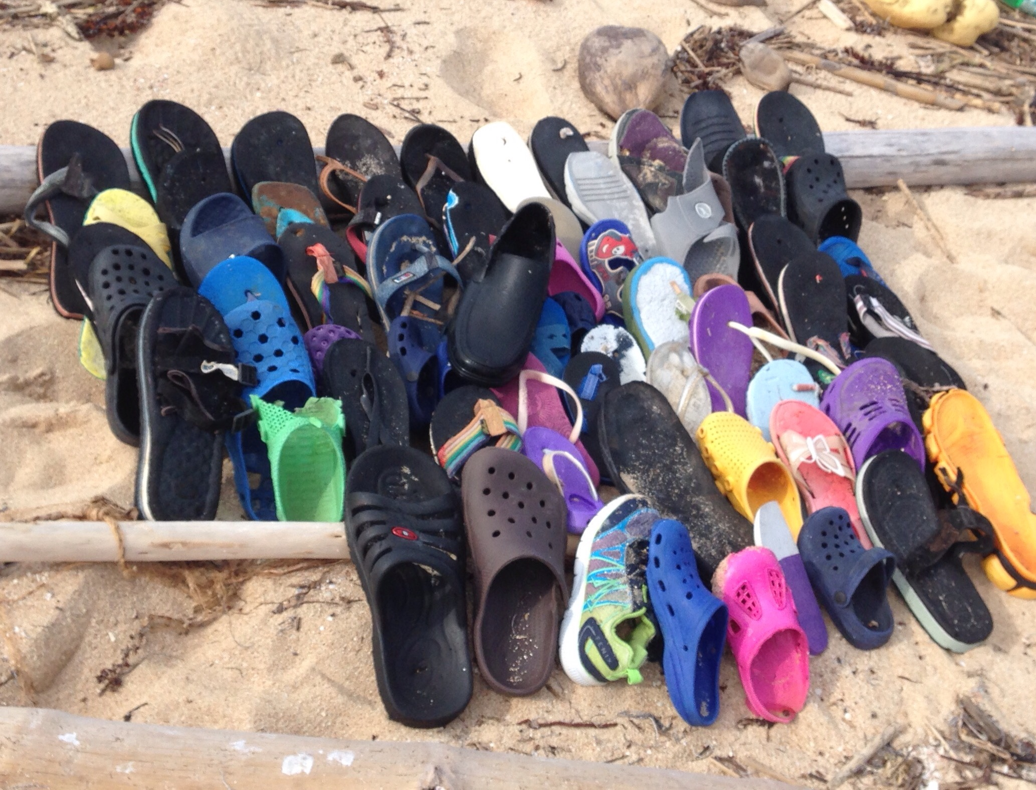 Shoes collected from half of the island.