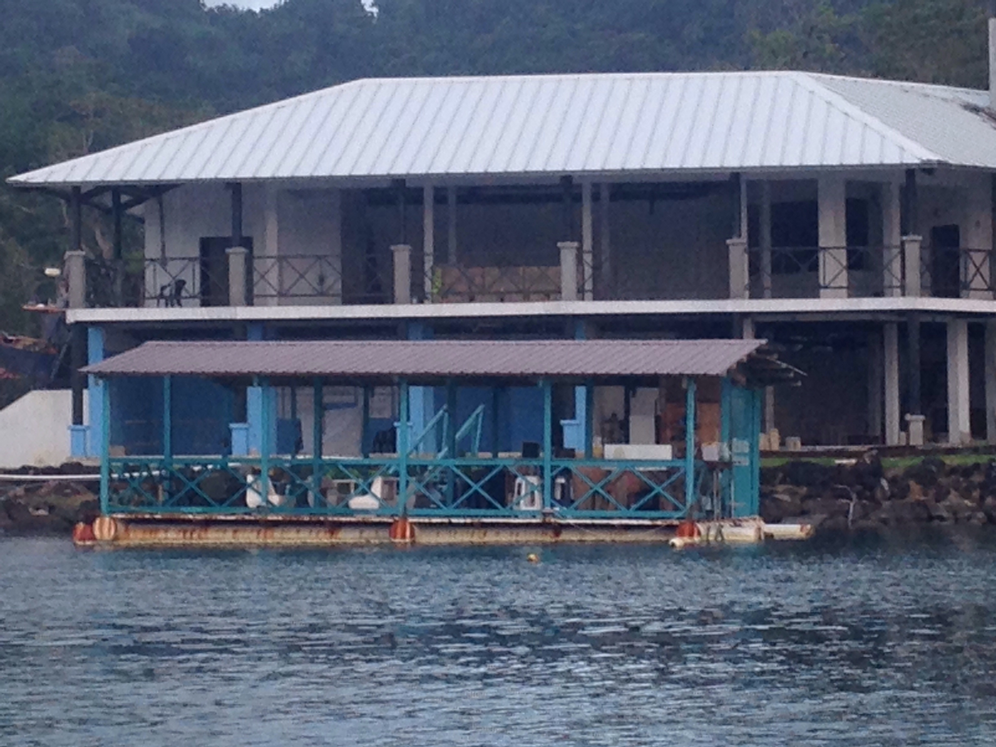 Linton Bay Bar in front and marina office that ran out of money mid-construction.