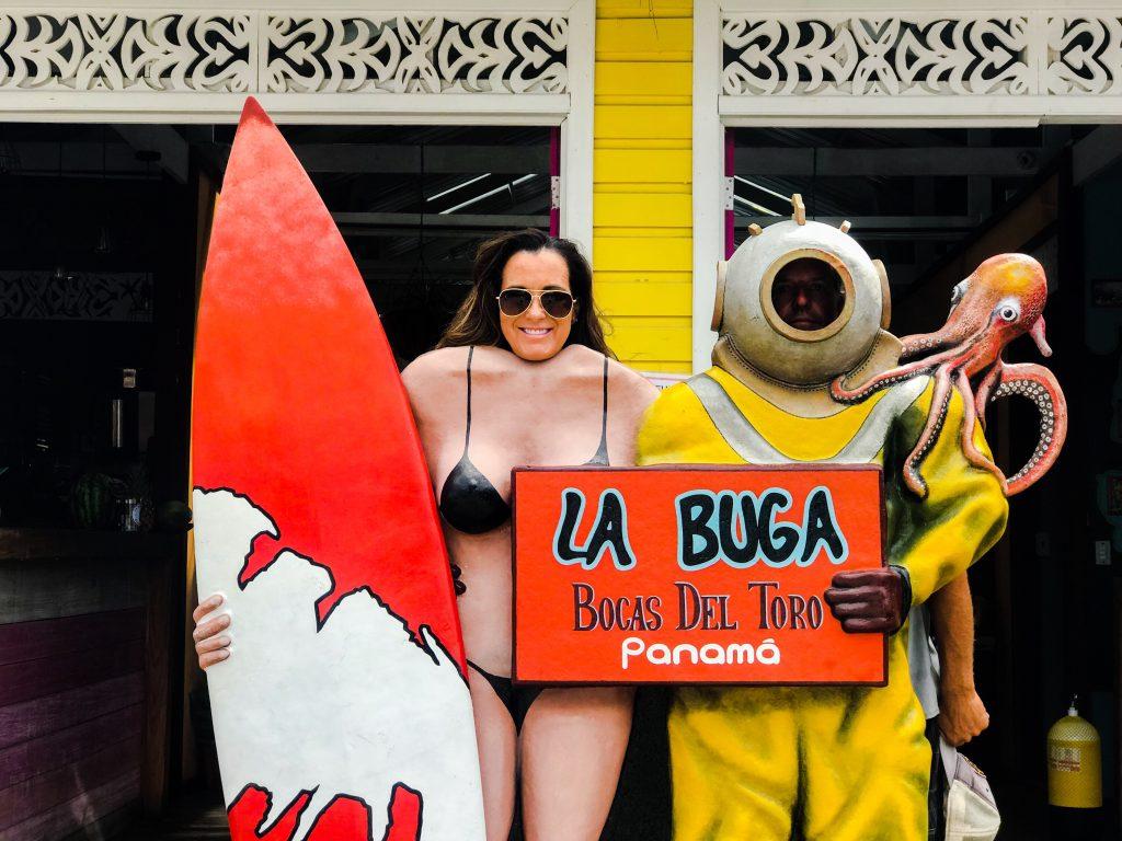 Surfer and diver at La Buga.