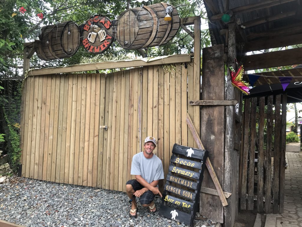Bocas Brewery offering beer on tap.