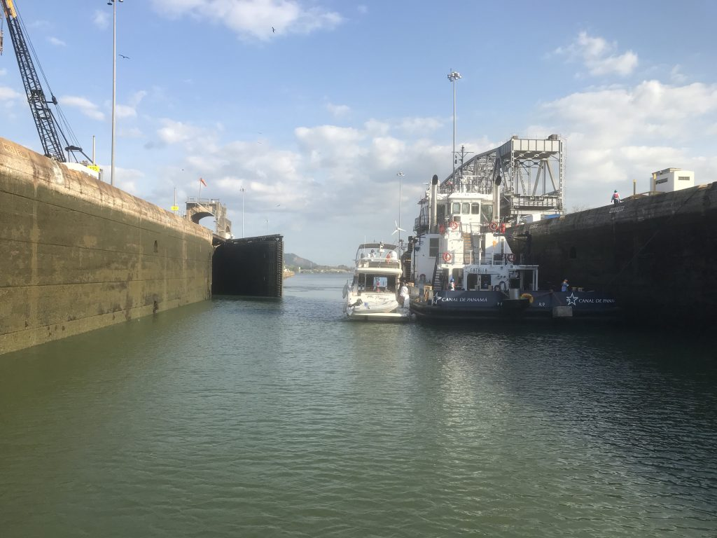 Last lock releasing us into the Pacific side of the canal