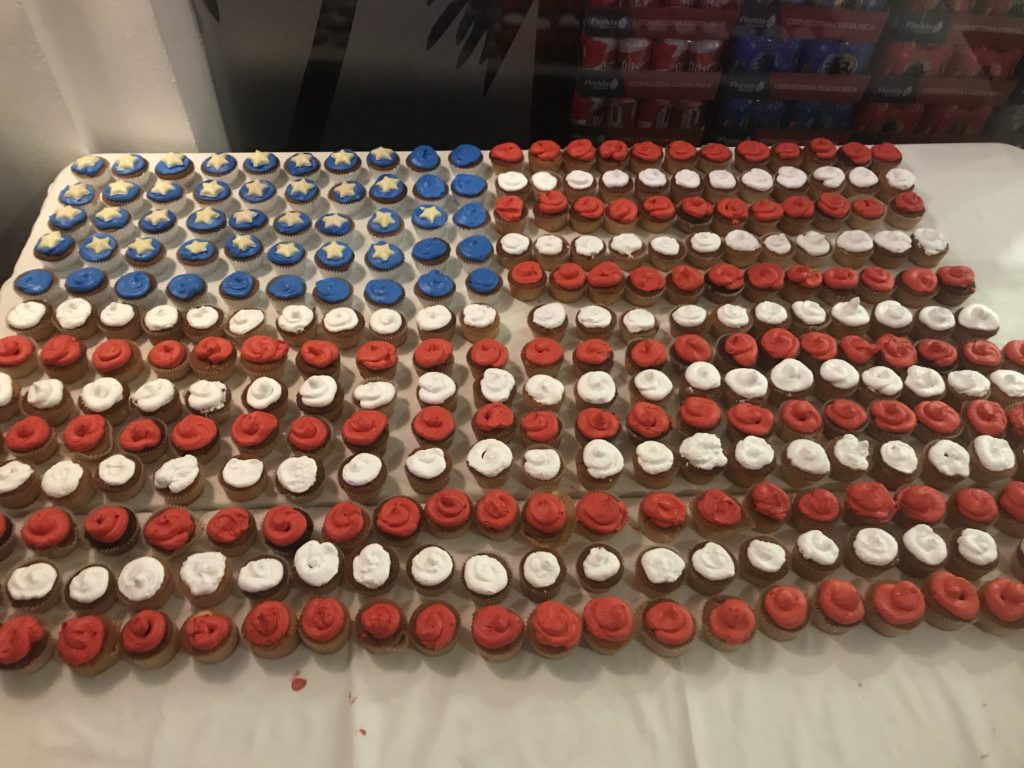 American Flag made of cupcakes