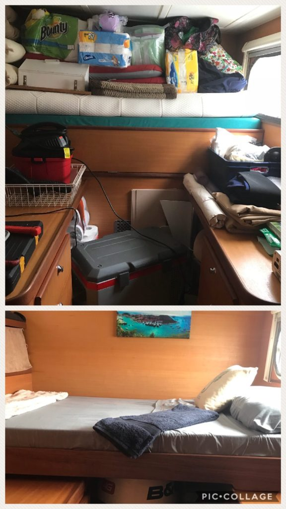 After cabin office before and after.