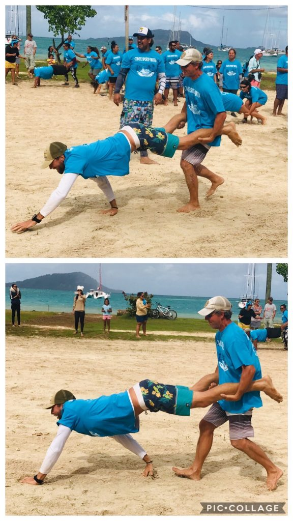Men's wheel barrow race