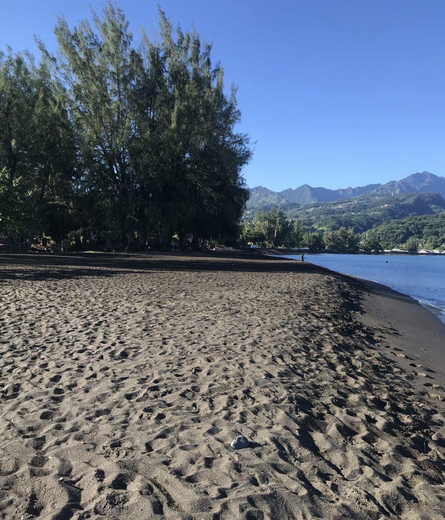 Black sand beach at Point Venus, Tahiti